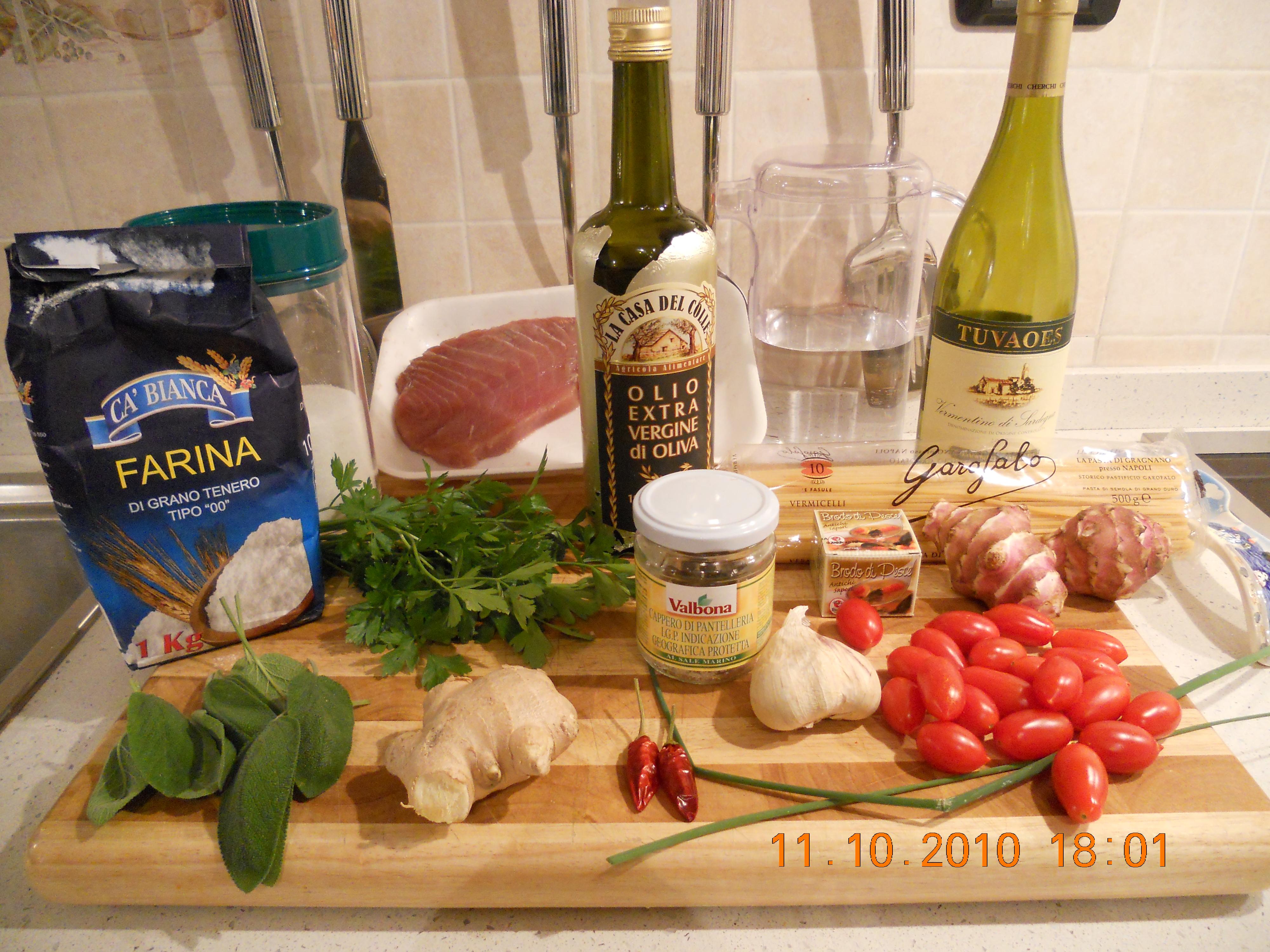 Pasta con dadotti di tonno fresco e topinambur al profumo di zenzero - ingredienti
