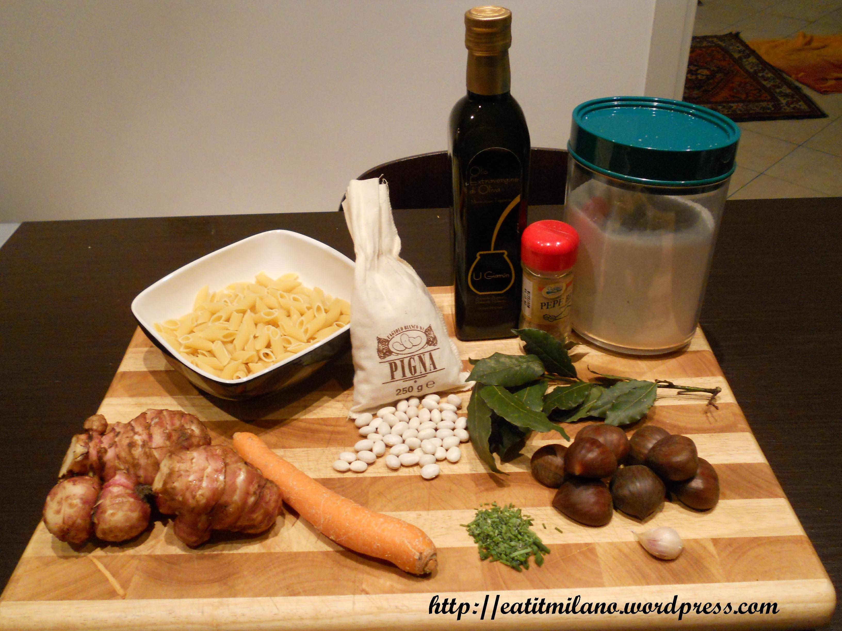 Mezze penne di Gragnano con marroni e fagioli di Pigna - Ingredienti