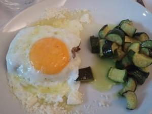 Svizzera alla bismark con olio tartufato e zucchine trifolate