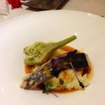 Filetto di ombrina, sedano rapa, carciofi e riduzione d'astice
