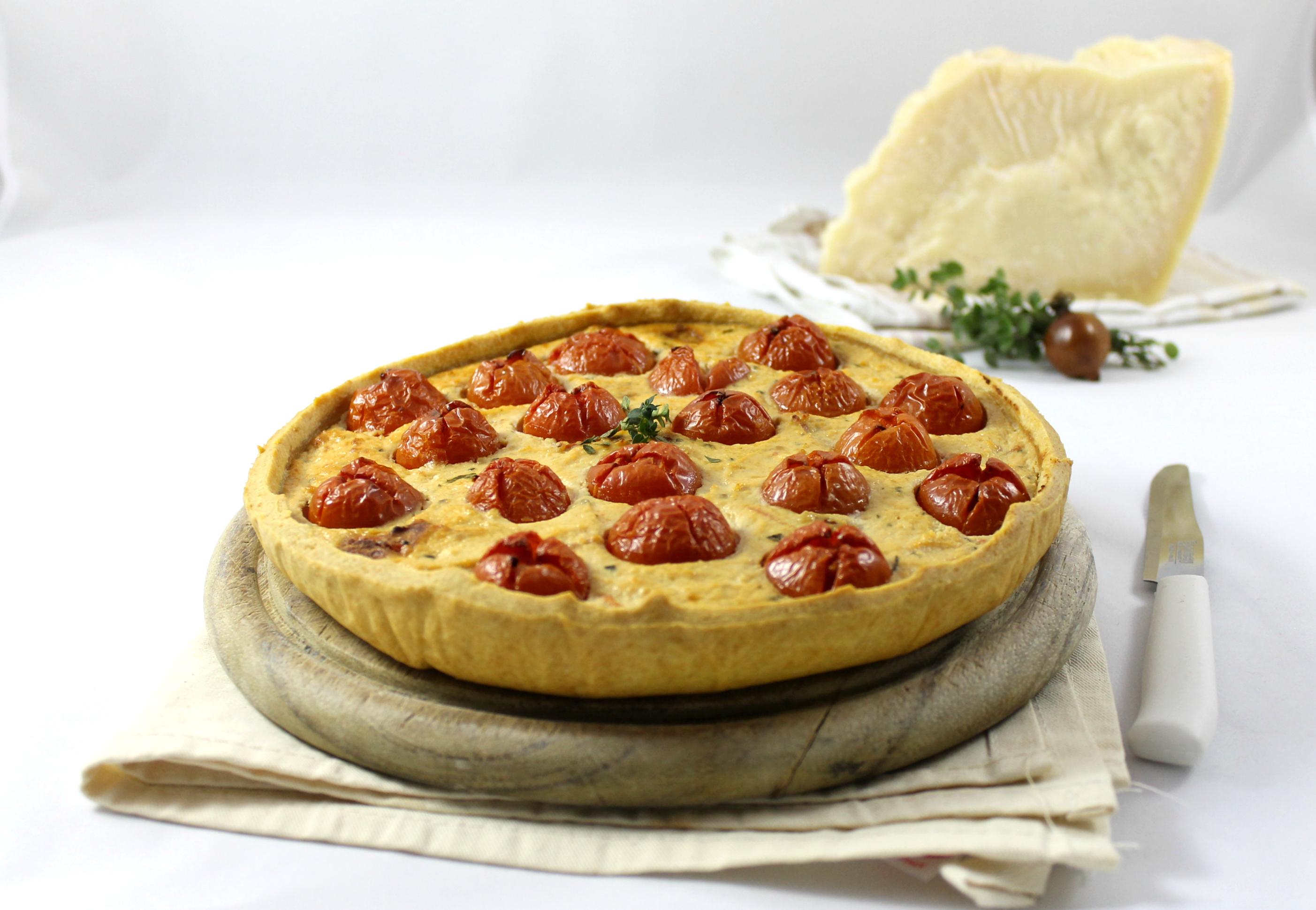 Crostata ricotta e pomodorini confit